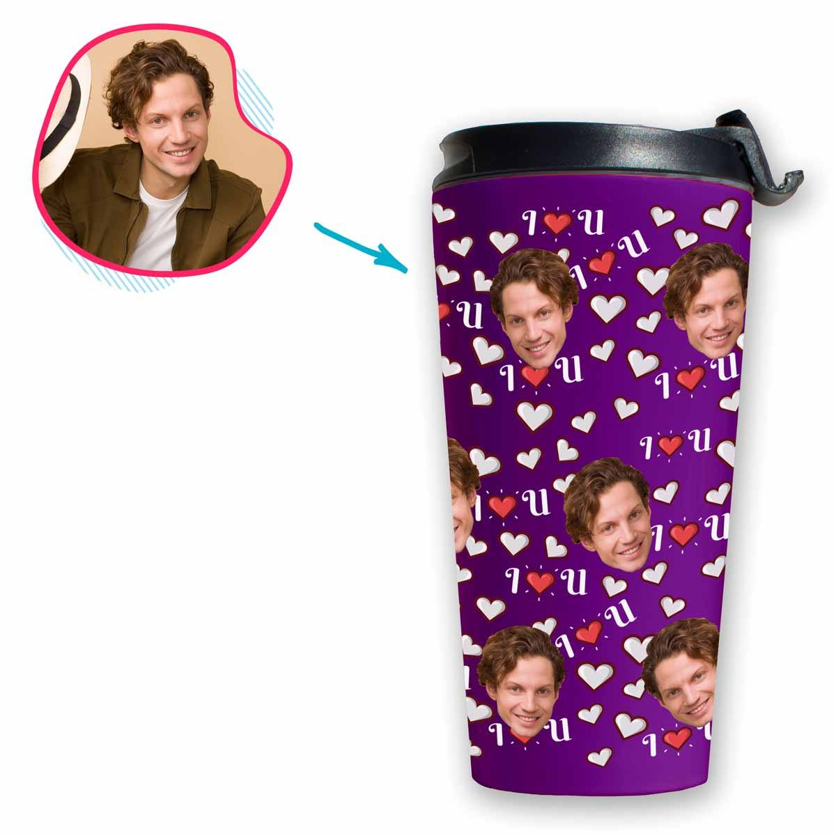 purple I <3 You travel mug personalized with photo of face printed on it