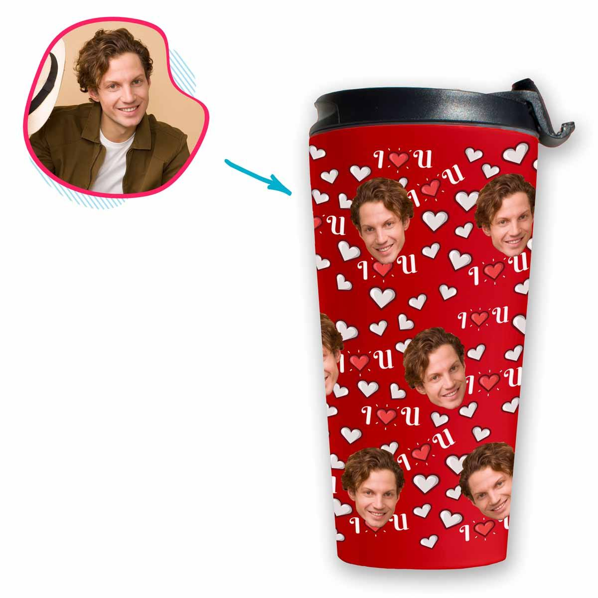 red I <3 You travel mug personalized with photo of face printed on it