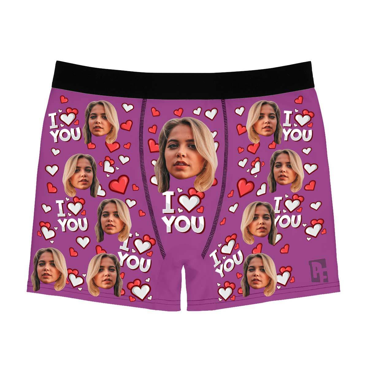 Purple I love you men's boxer briefs personalized with photo printed on them