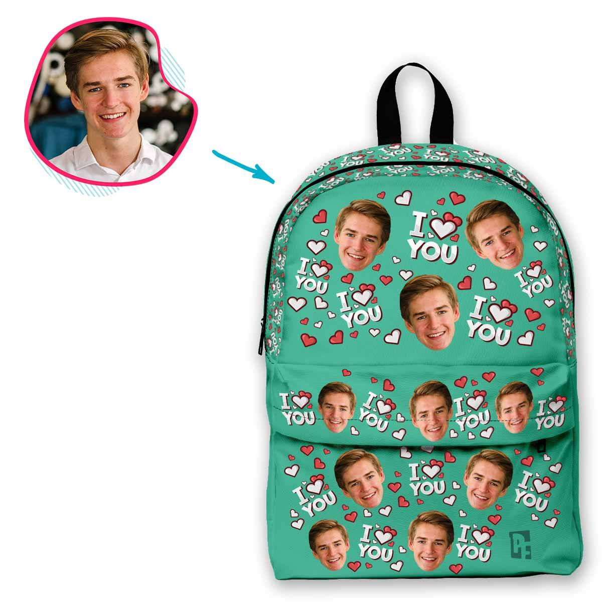 mint I Love You classic backpack personalized with photo of face printed on it