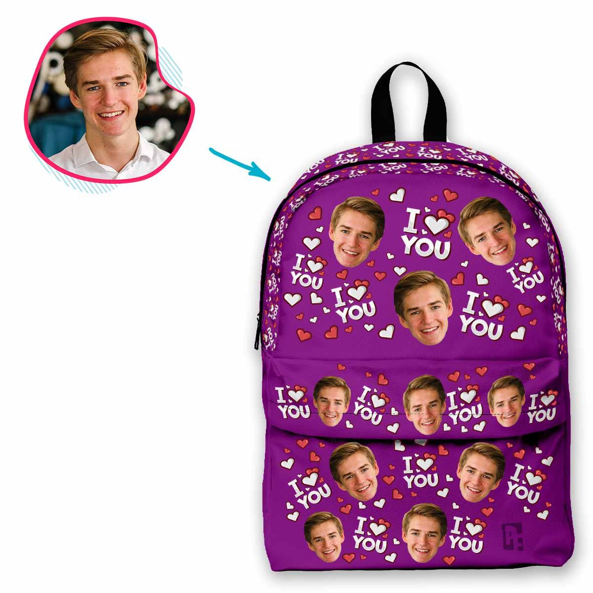 purple I Love You classic backpack personalized with photo of face printed on it
