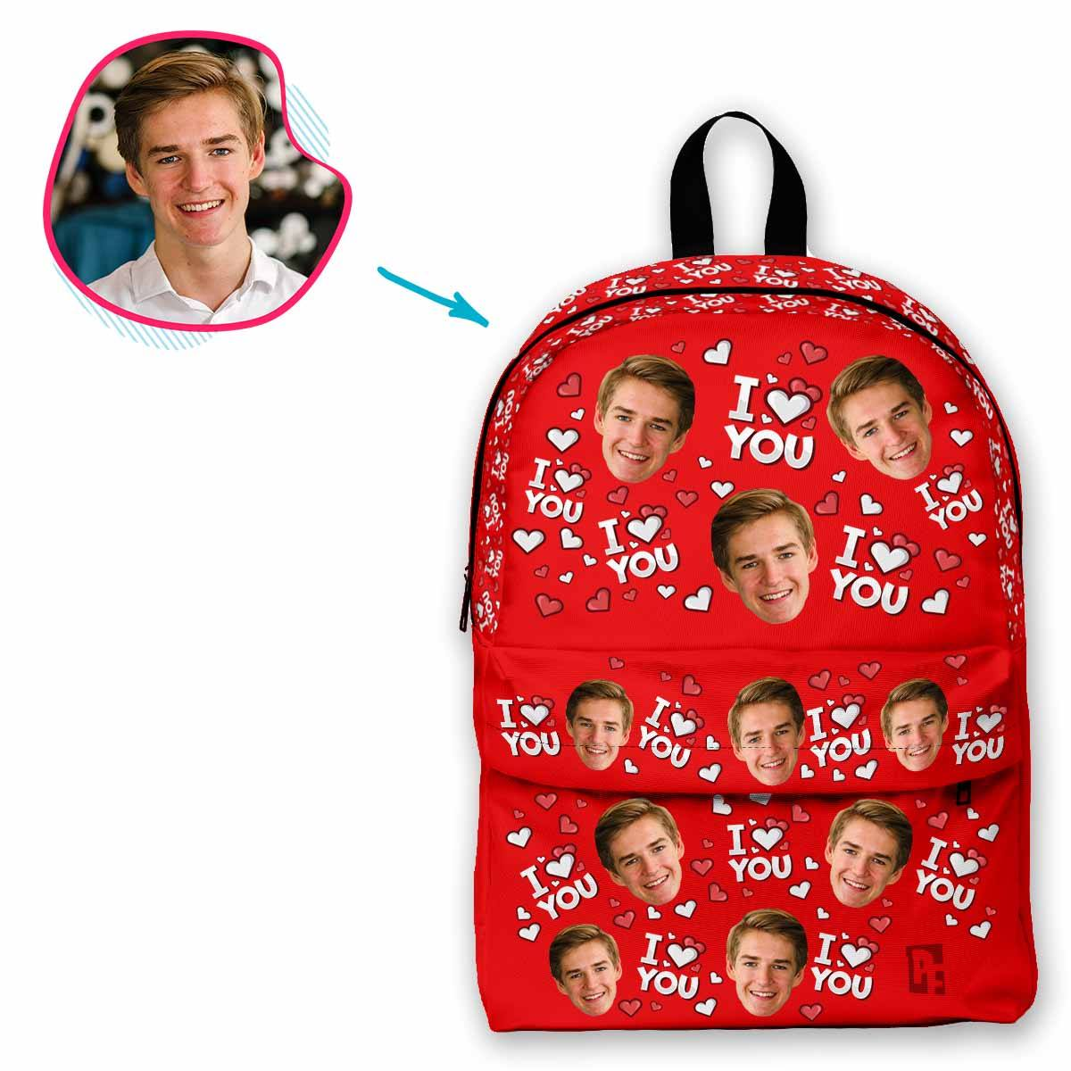 red I Love You classic backpack personalized with photo of face printed on it