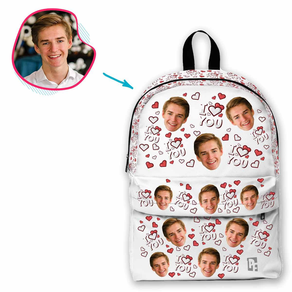 white I Love You classic backpack personalized with photo of face printed on it