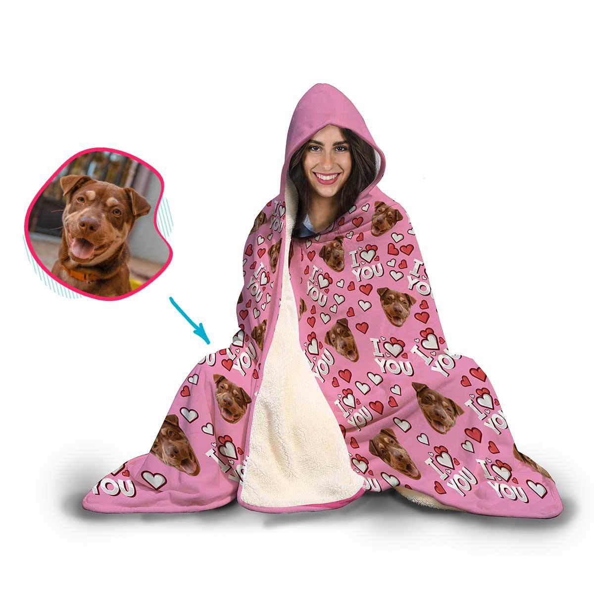 I Love You Personalized Hooded Blanket