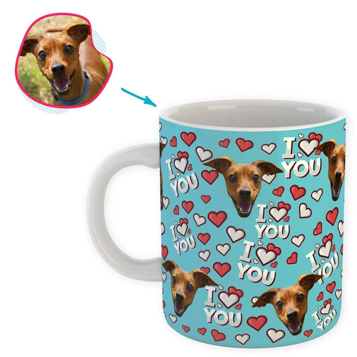 blue I Love You mug personalized with photo of face printed on it