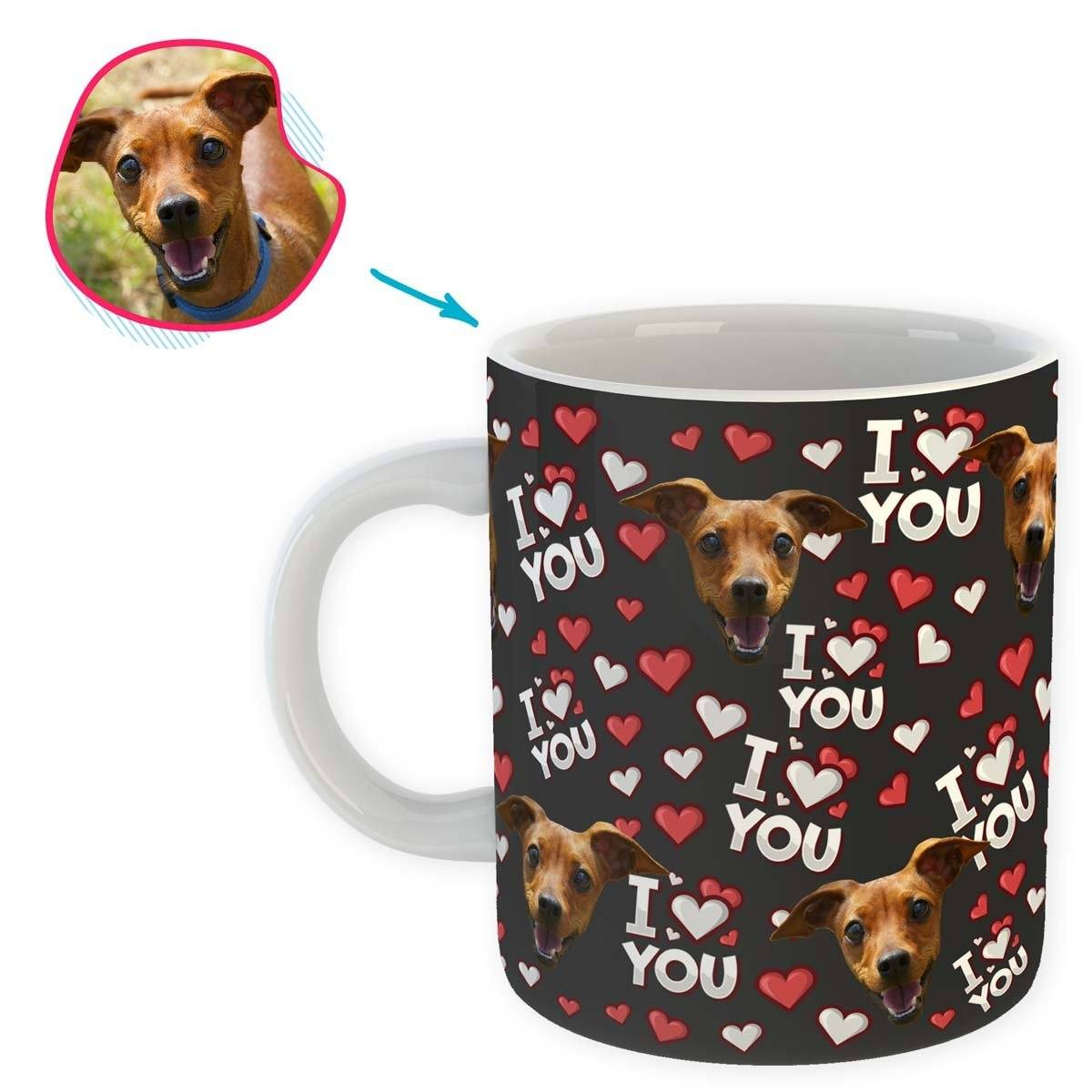 dark I Love You mug personalized with photo of face printed on it