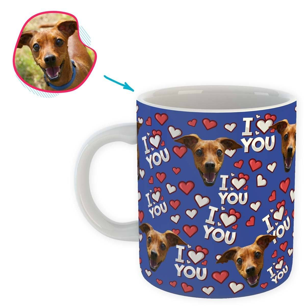 darkblue I Love You mug personalized with photo of face printed on it
