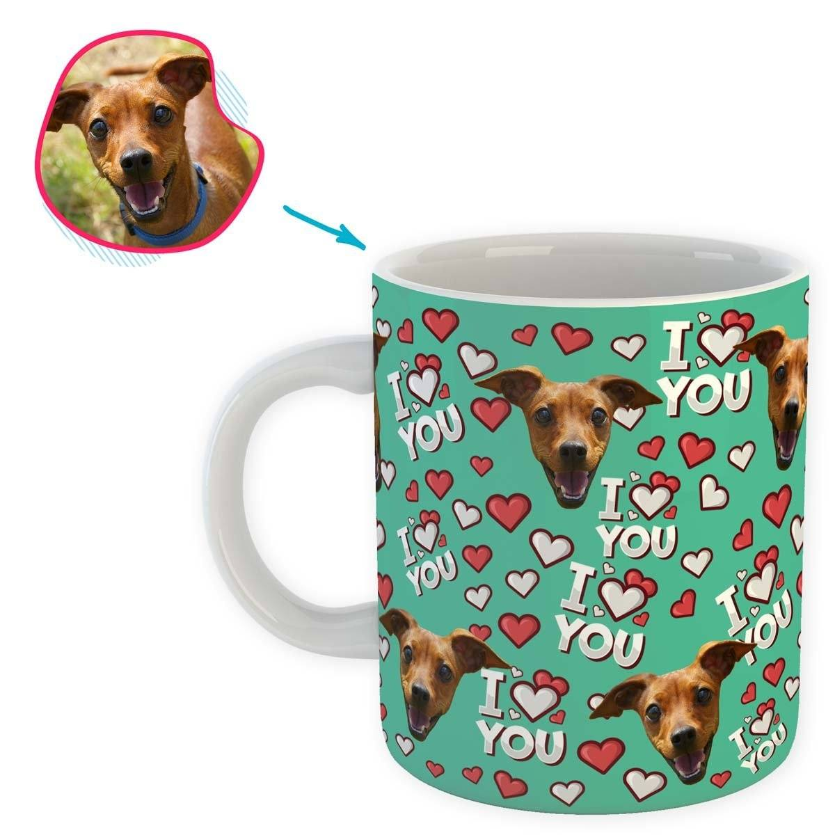 mint I Love You mug personalized with photo of face printed on it