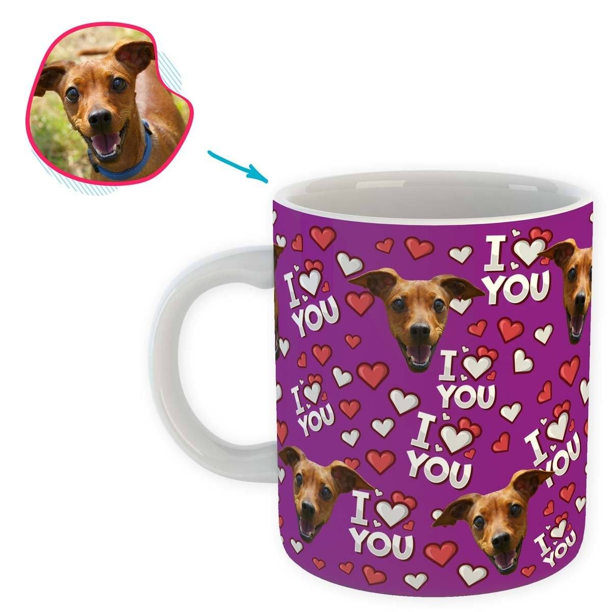 purple I Love You mug personalized with photo of face printed on it