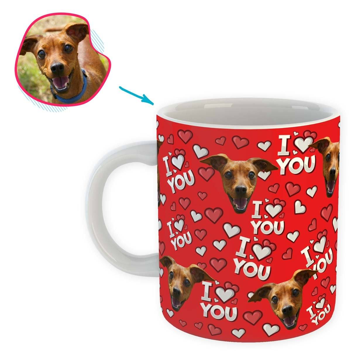 red I Love You mug personalized with photo of face printed on it