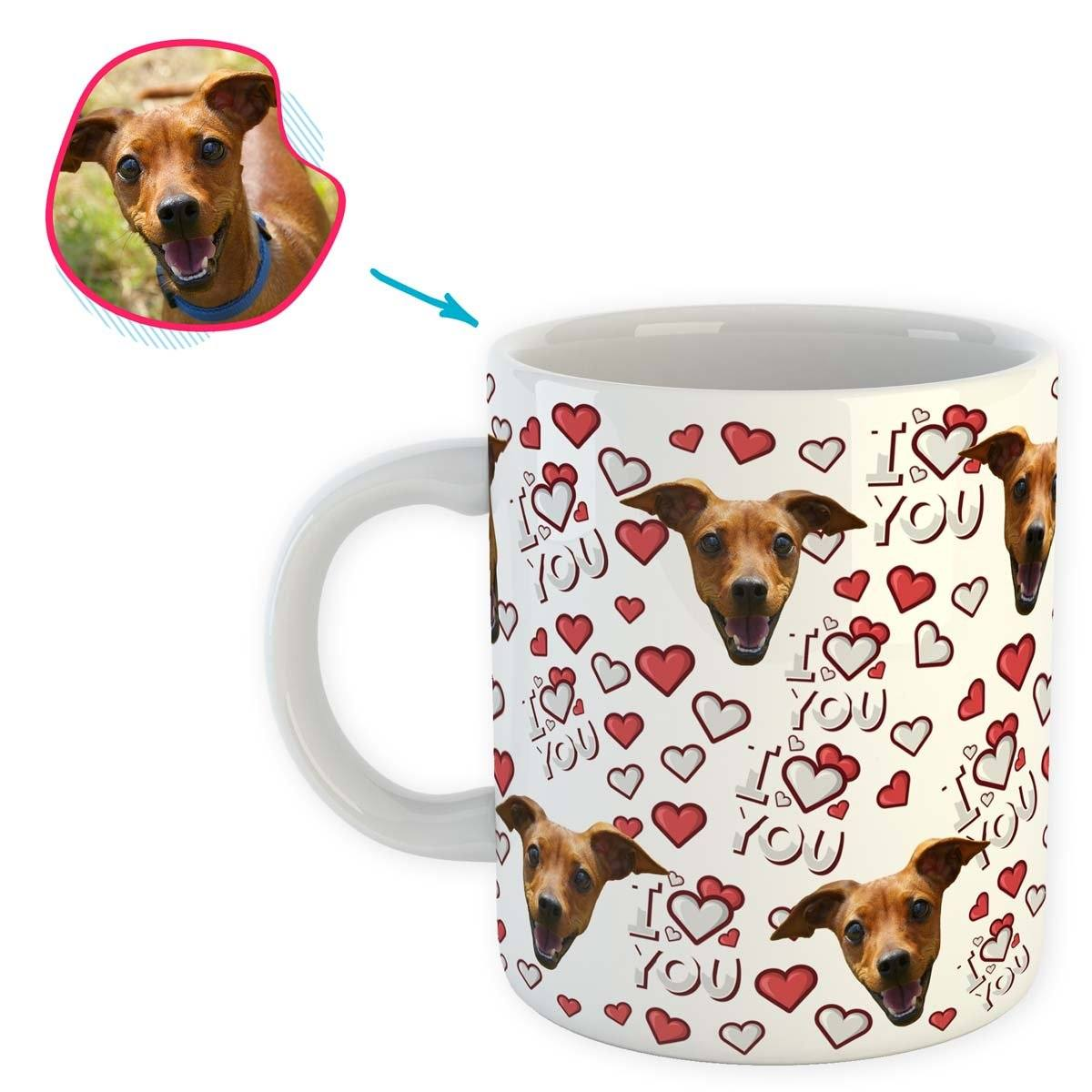 white I Love You mug personalized with photo of face printed on it
