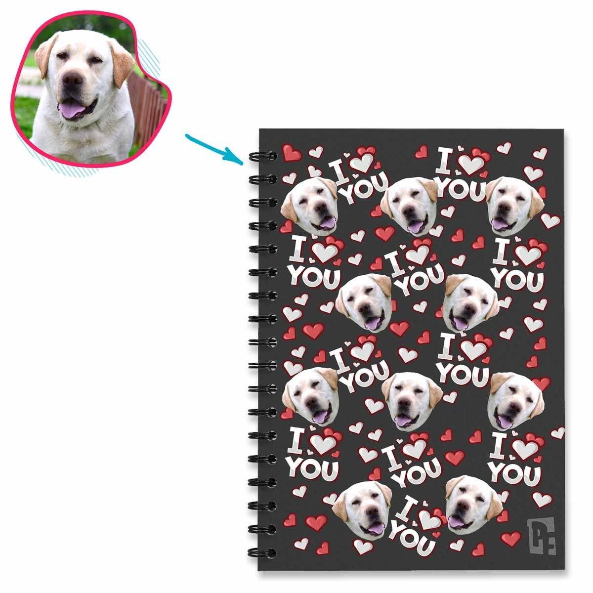 dark I Love You Notebook personalized with photo of face printed on them