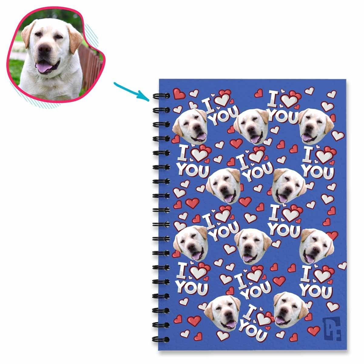 darkblue I Love You Notebook personalized with photo of face printed on them