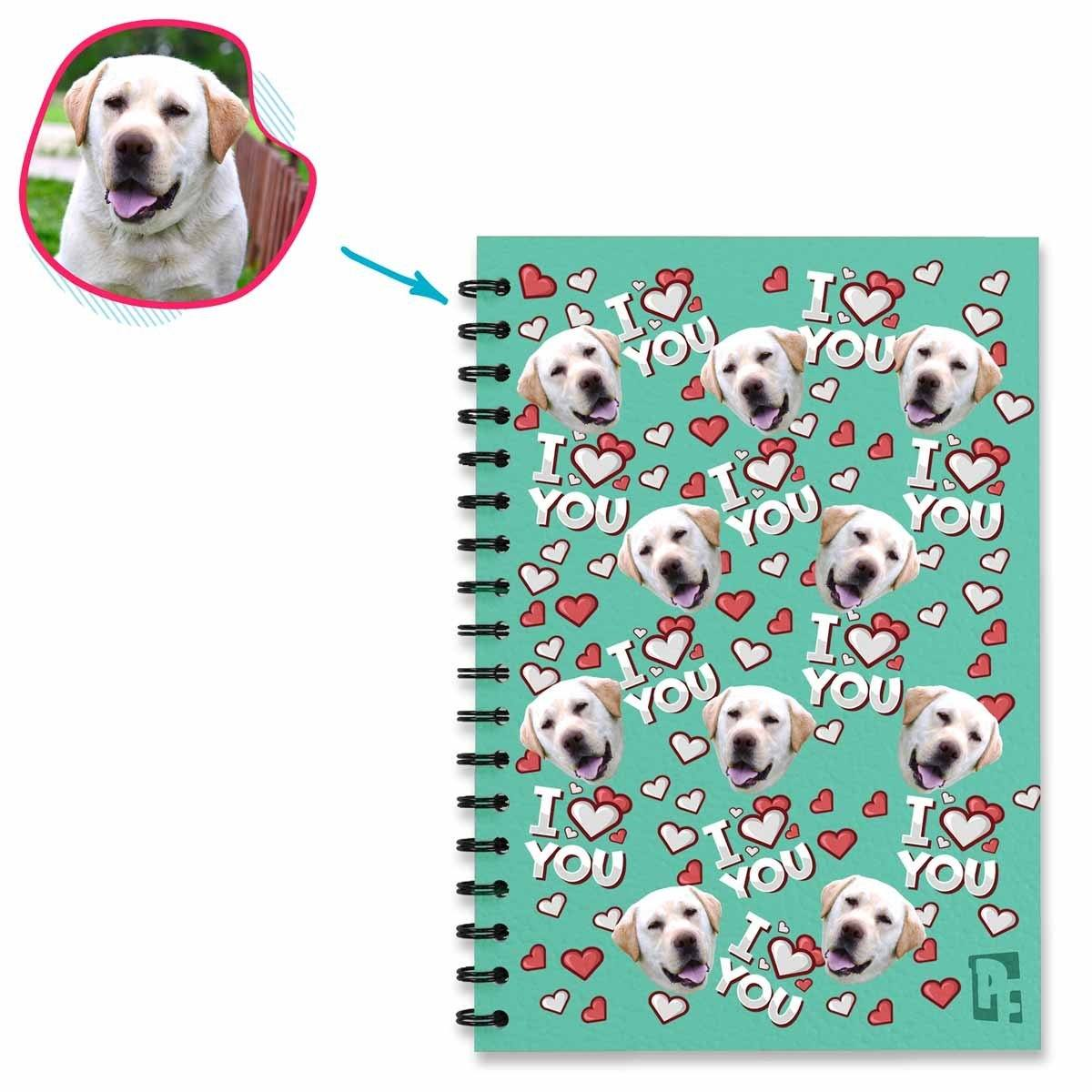 mint I Love You Notebook personalized with photo of face printed on them