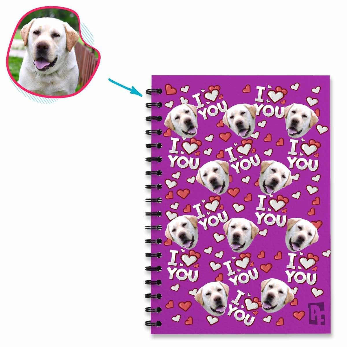 purple I Love You Notebook personalized with photo of face printed on them