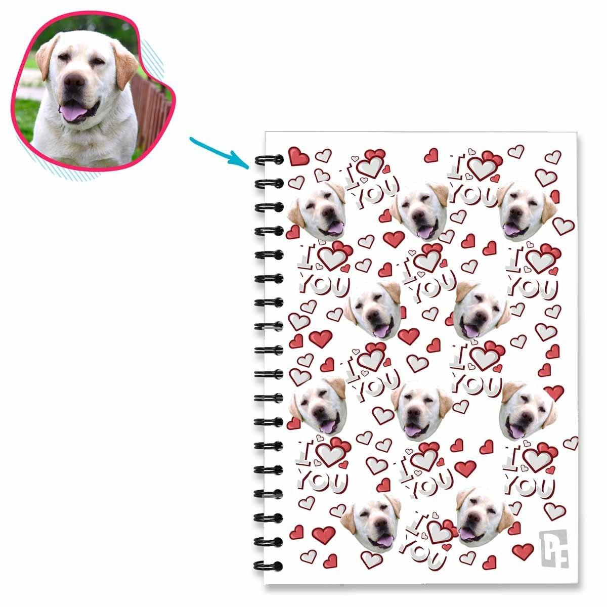 white I Love You Notebook personalized with photo of face printed on them