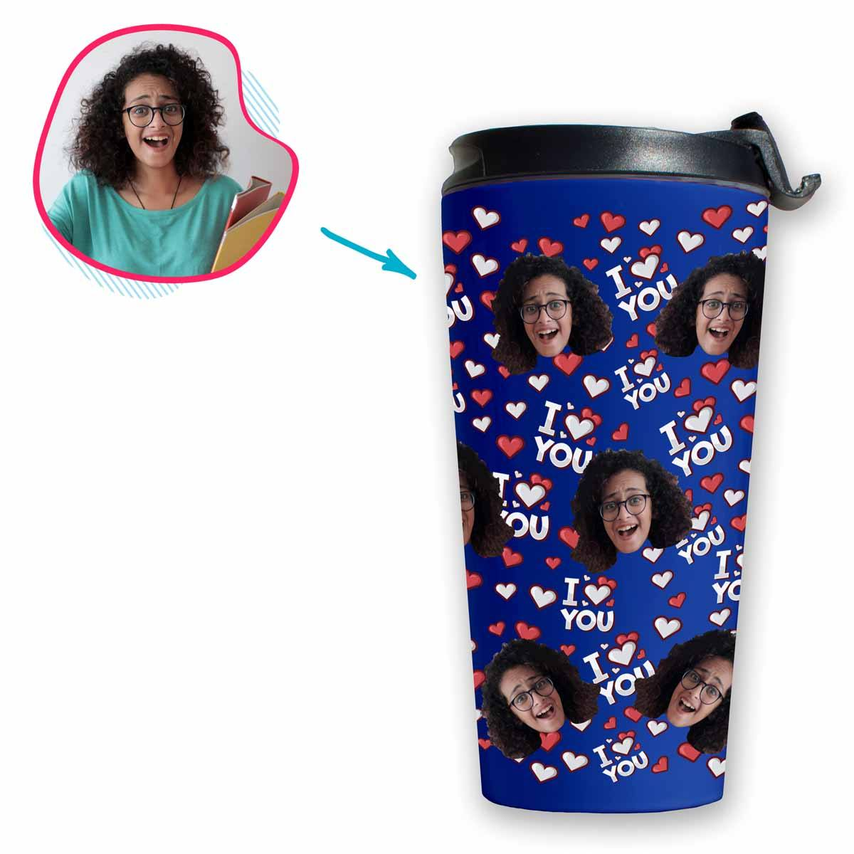 darkblue I Love You travel mug personalized with photo of face printed on it
