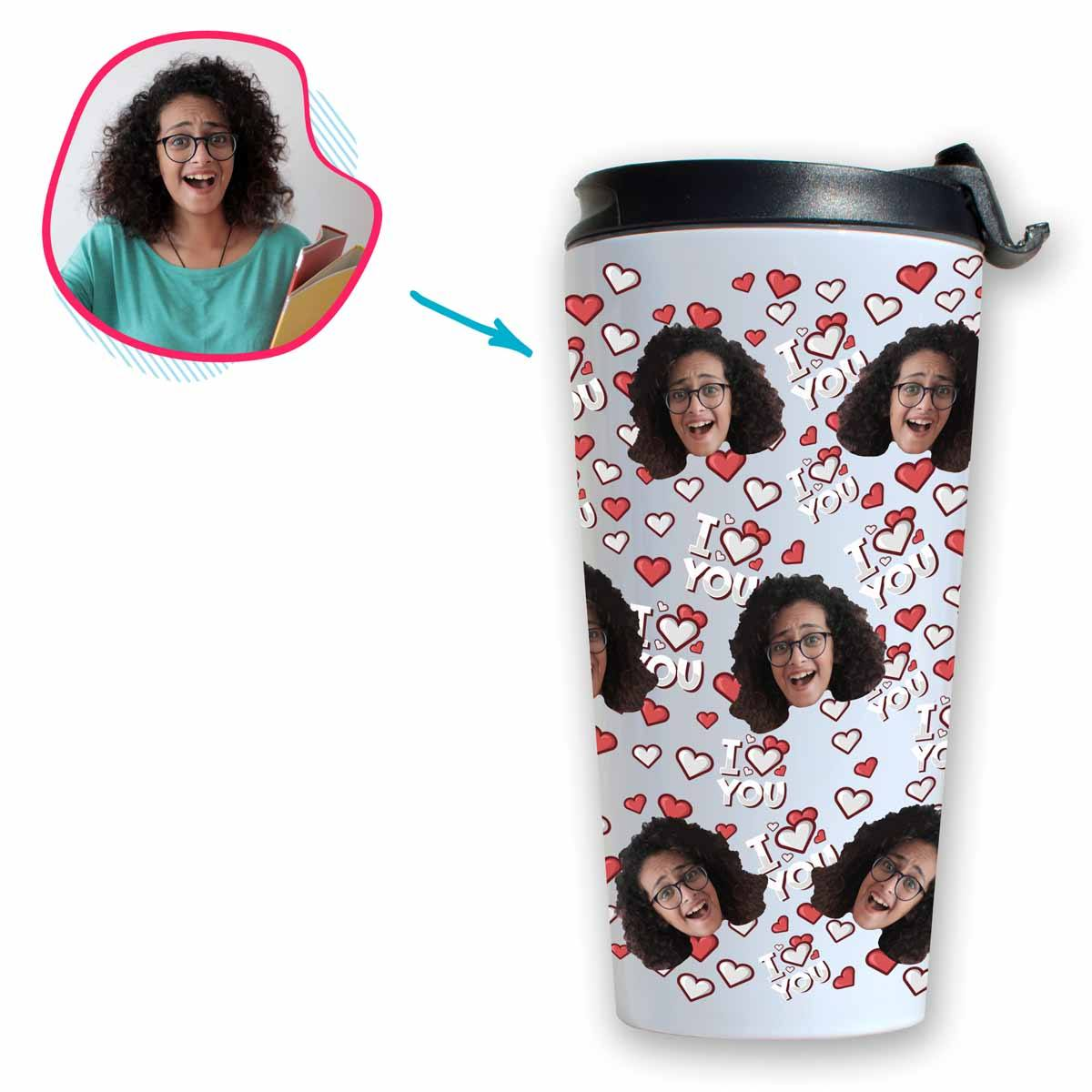 white I Love You travel mug personalized with photo of face printed on it
