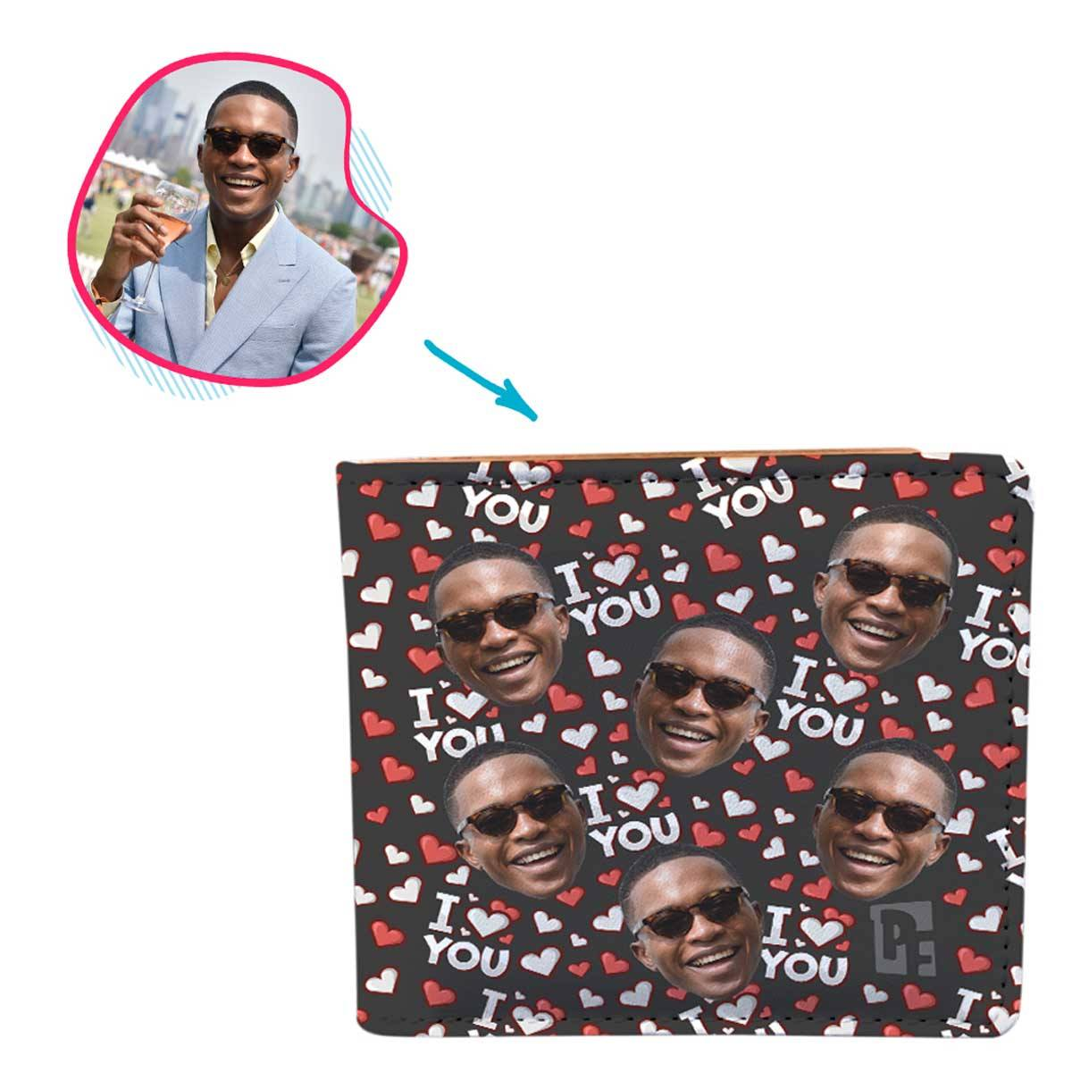 dark I Love You wallet personalized with photo of face printed on it