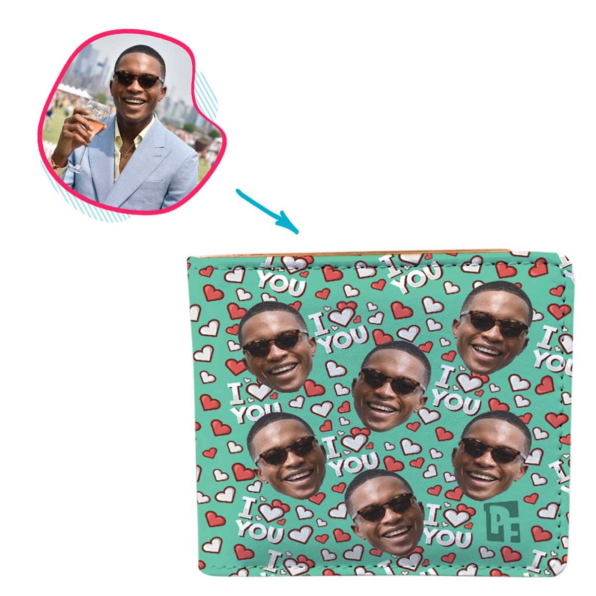 mint I Love You wallet personalized with photo of face printed on it