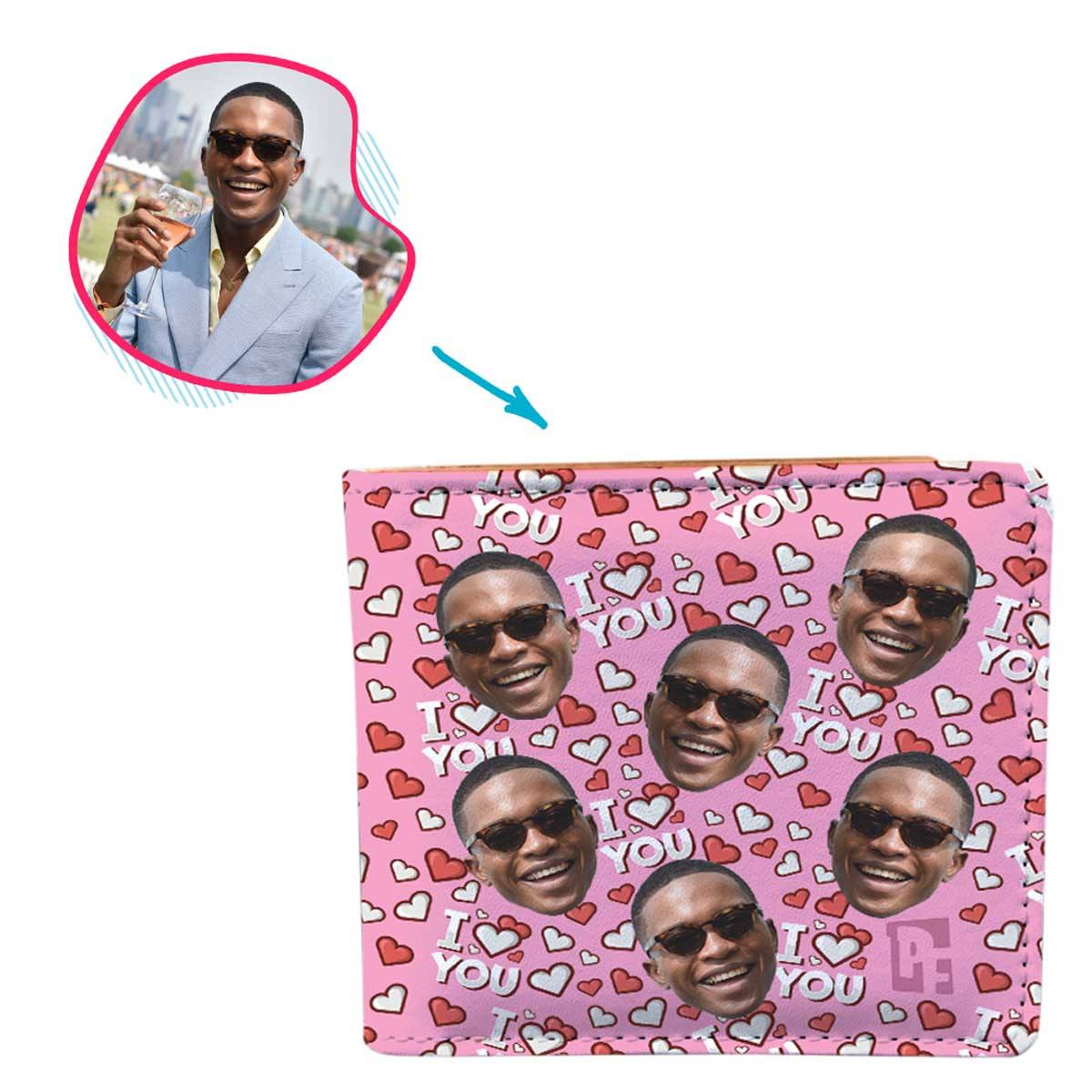 pink I Love You wallet personalized with photo of face printed on it