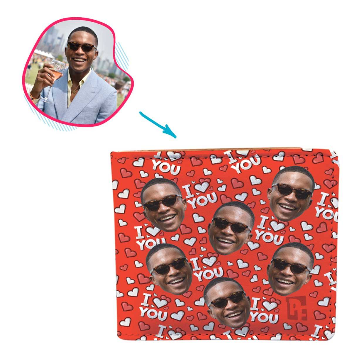 red I Love You wallet personalized with photo of face printed on it