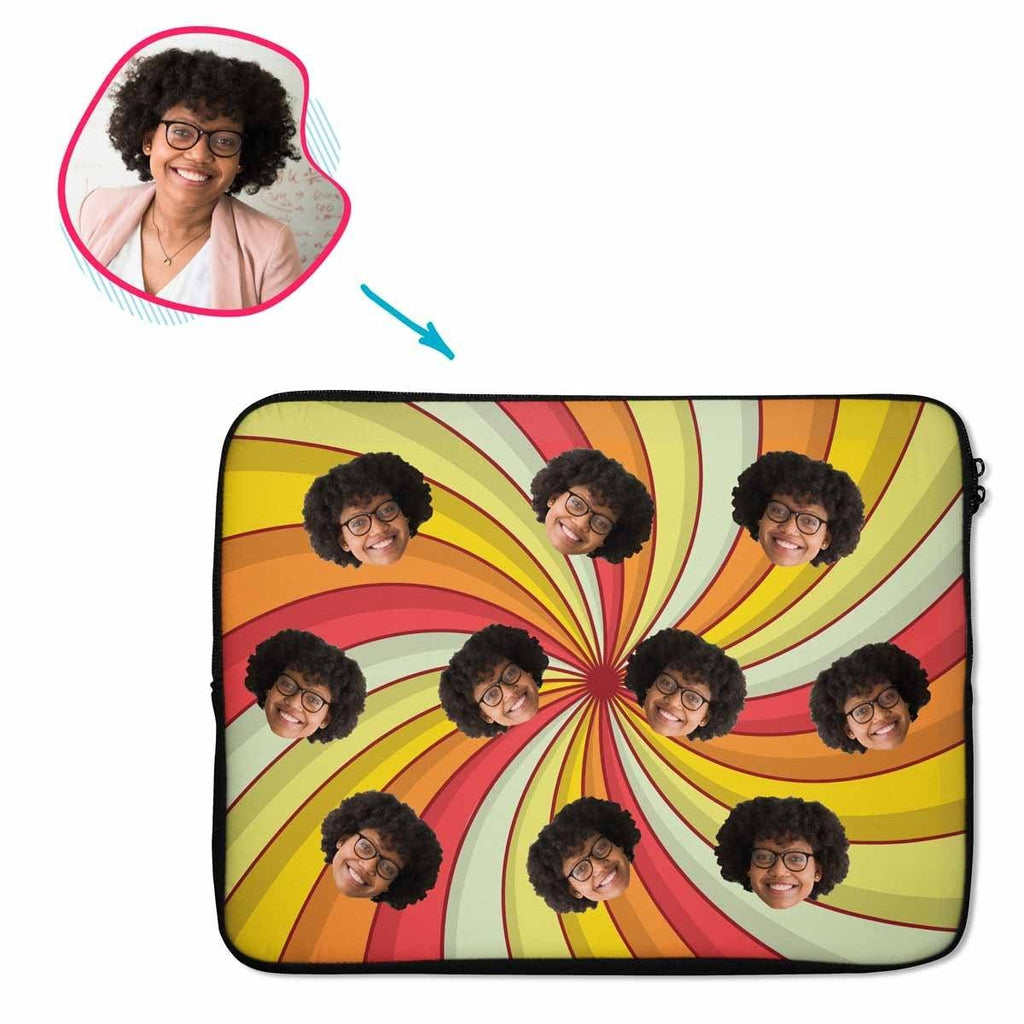 illusion Illusion laptop sleeve personalized with photo of face printed on them
