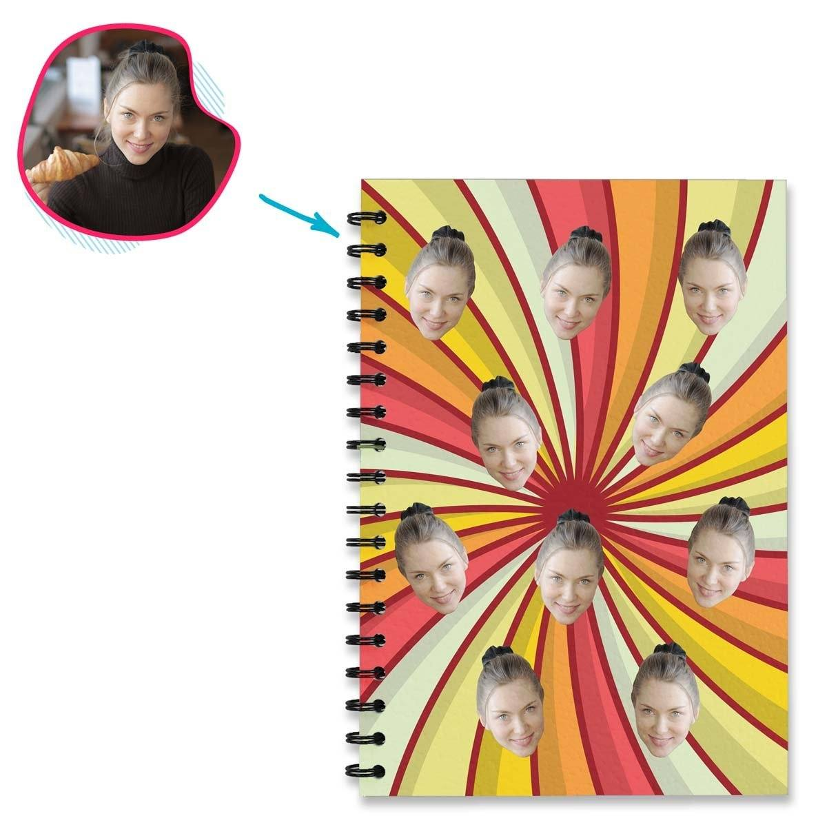 illusion Illusion Notebook personalized with photo of face printed on them