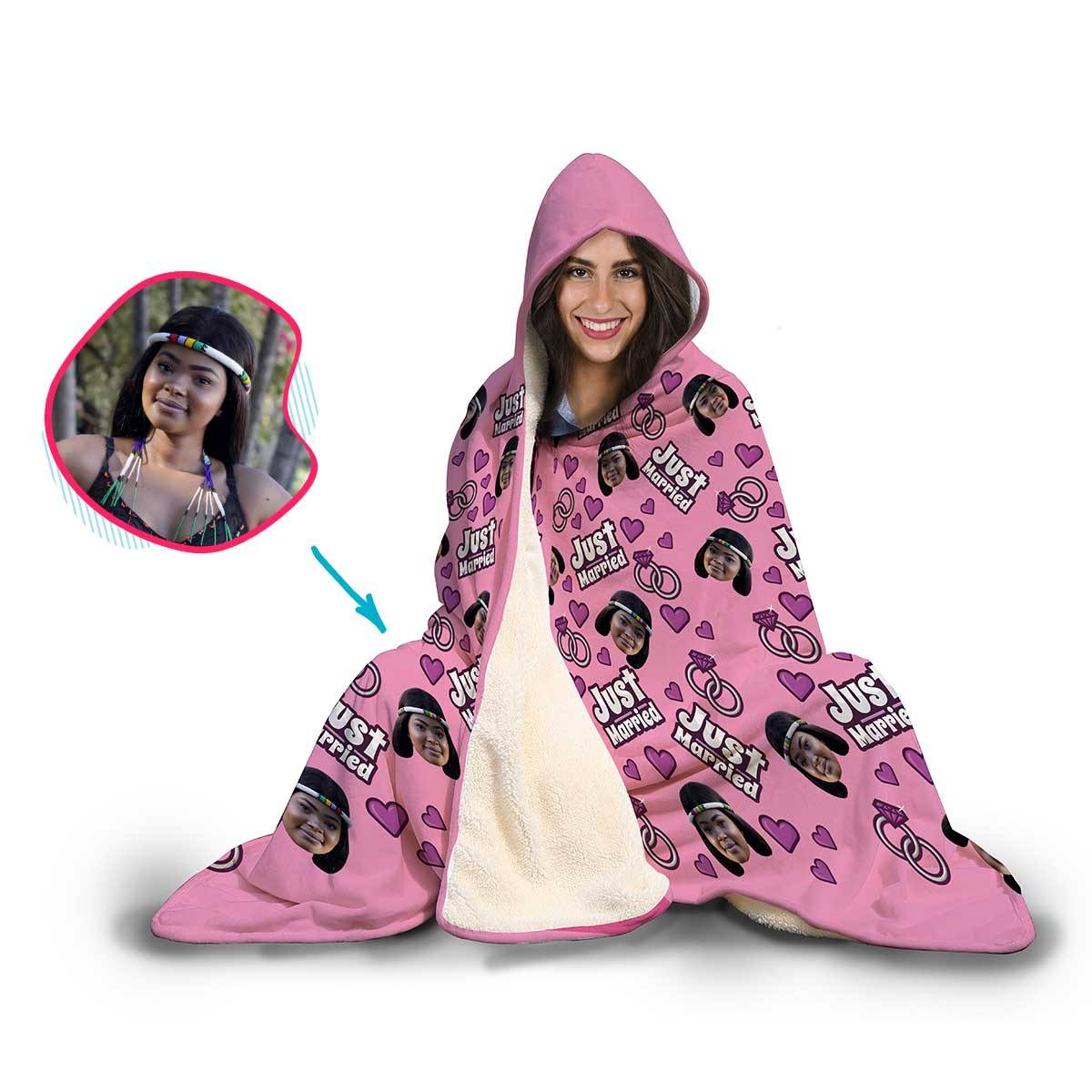 Just Married Personalized Hooded Blanket