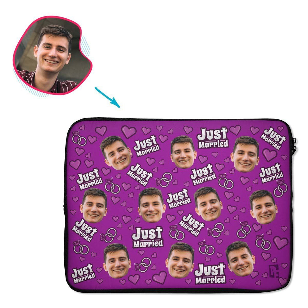purple Just Married laptop sleeve personalized with photo of face printed on them