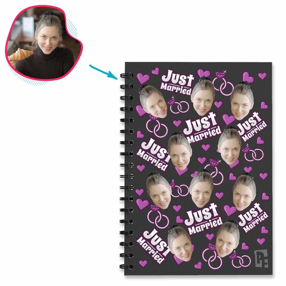 dark Just Married Notebook personalized with photo of face printed on them