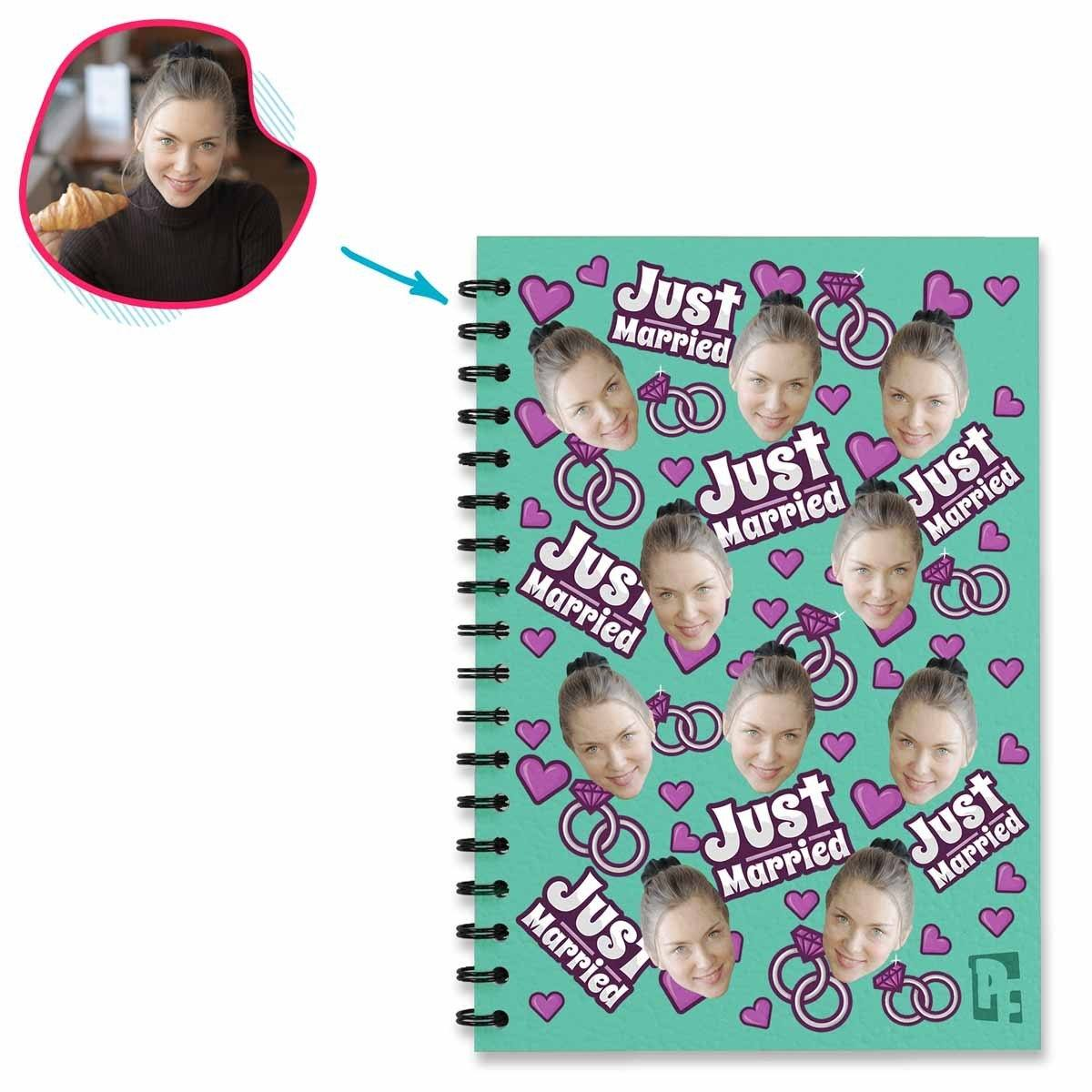 mint Just Married Notebook personalized with photo of face printed on them