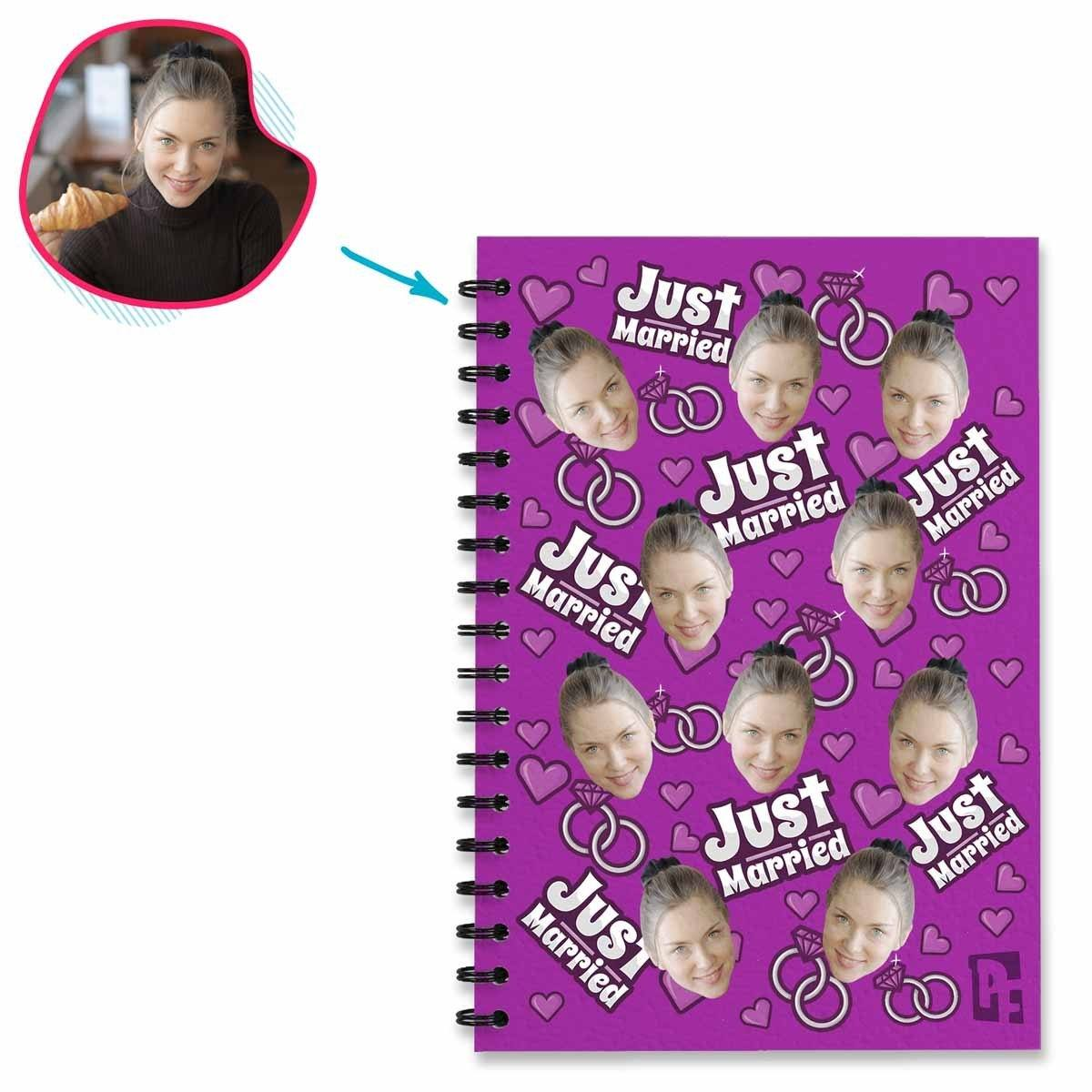 purple Just Married Notebook personalized with photo of face printed on them