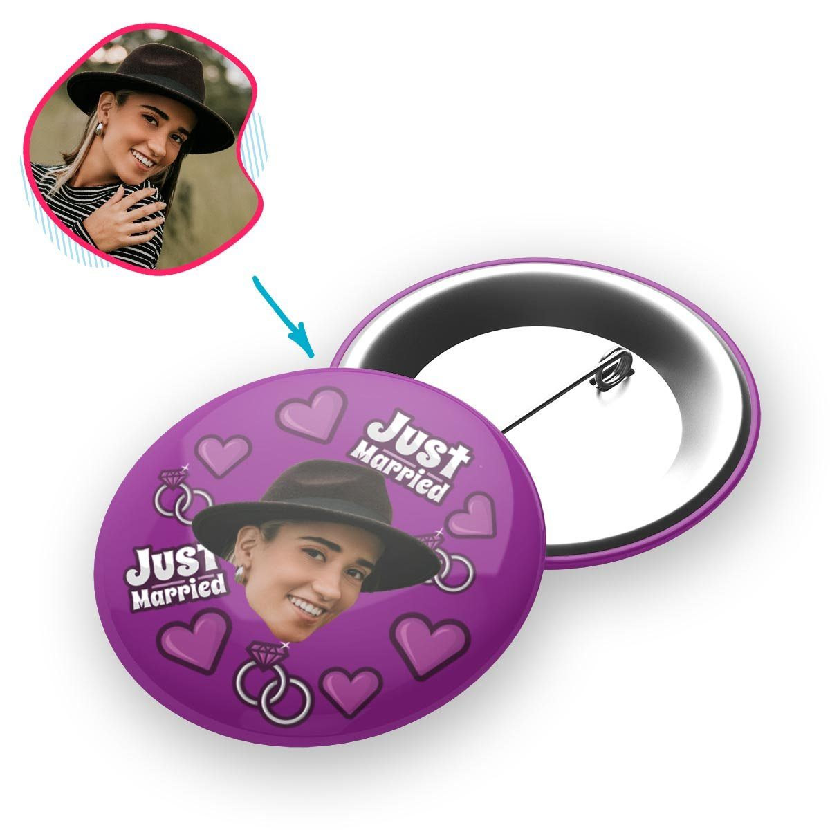 purple Just Married pin personalized with photo of face printed on it