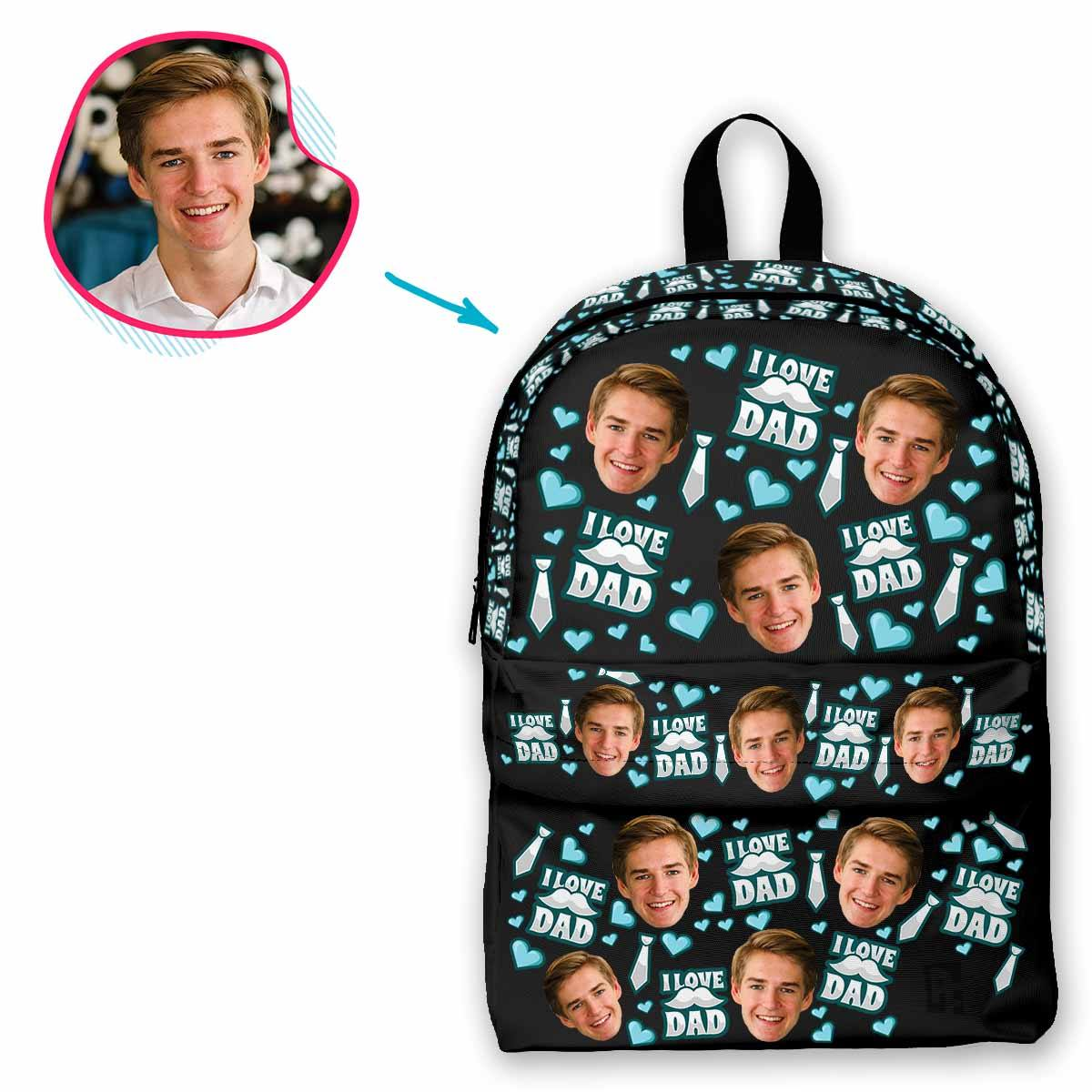 dark Love Dad classic backpack personalized with photo of face printed on it