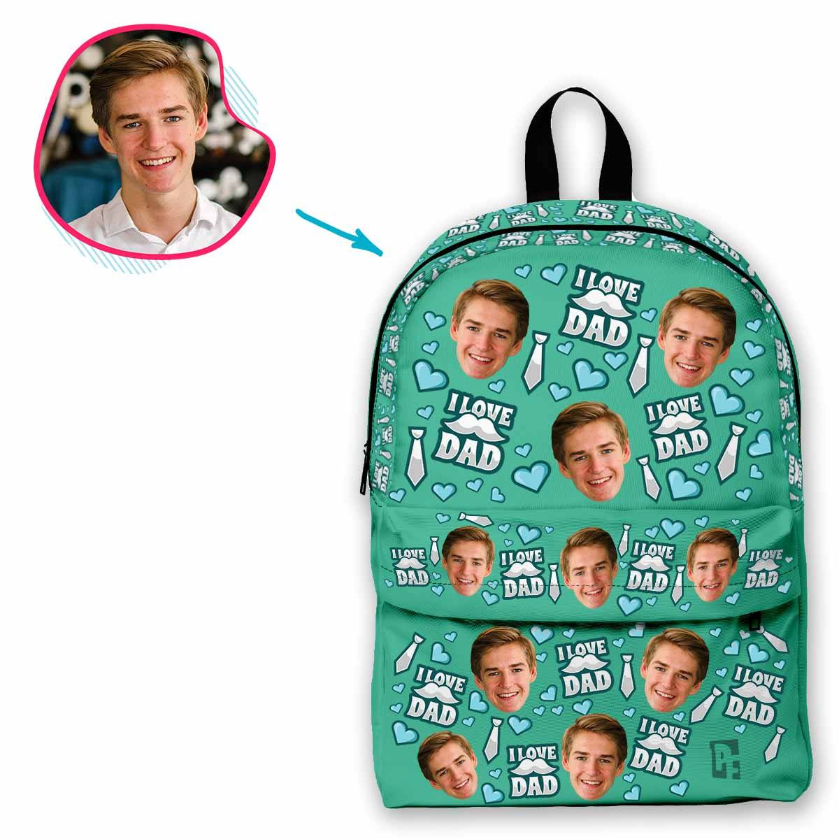 mint Love Dad classic backpack personalized with photo of face printed on it