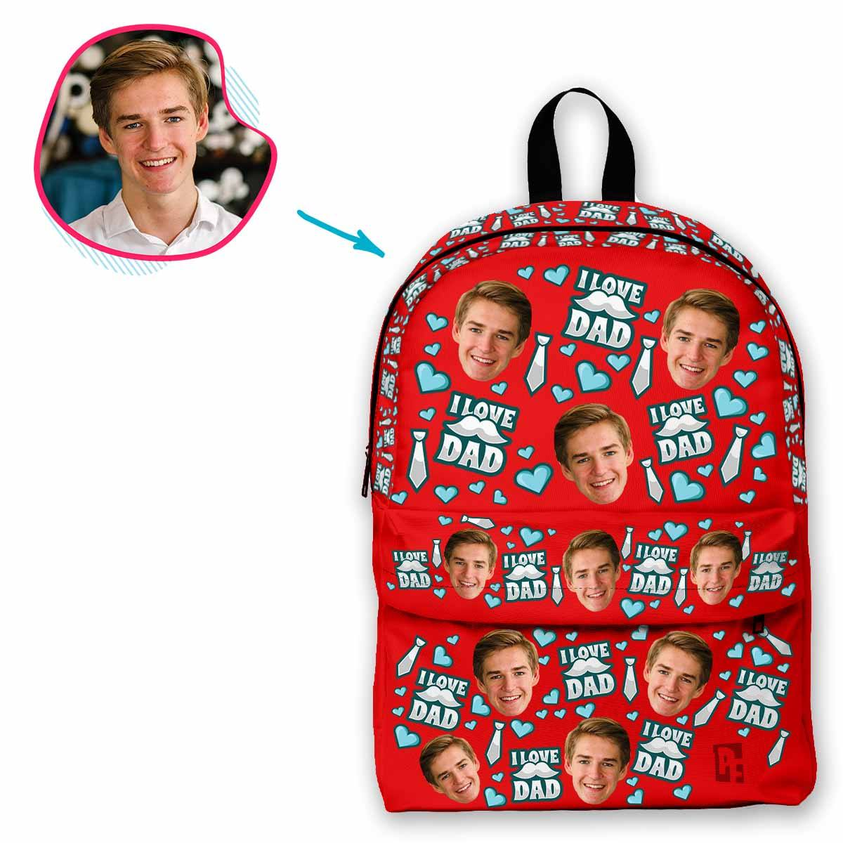 red Love Dad classic backpack personalized with photo of face printed on it