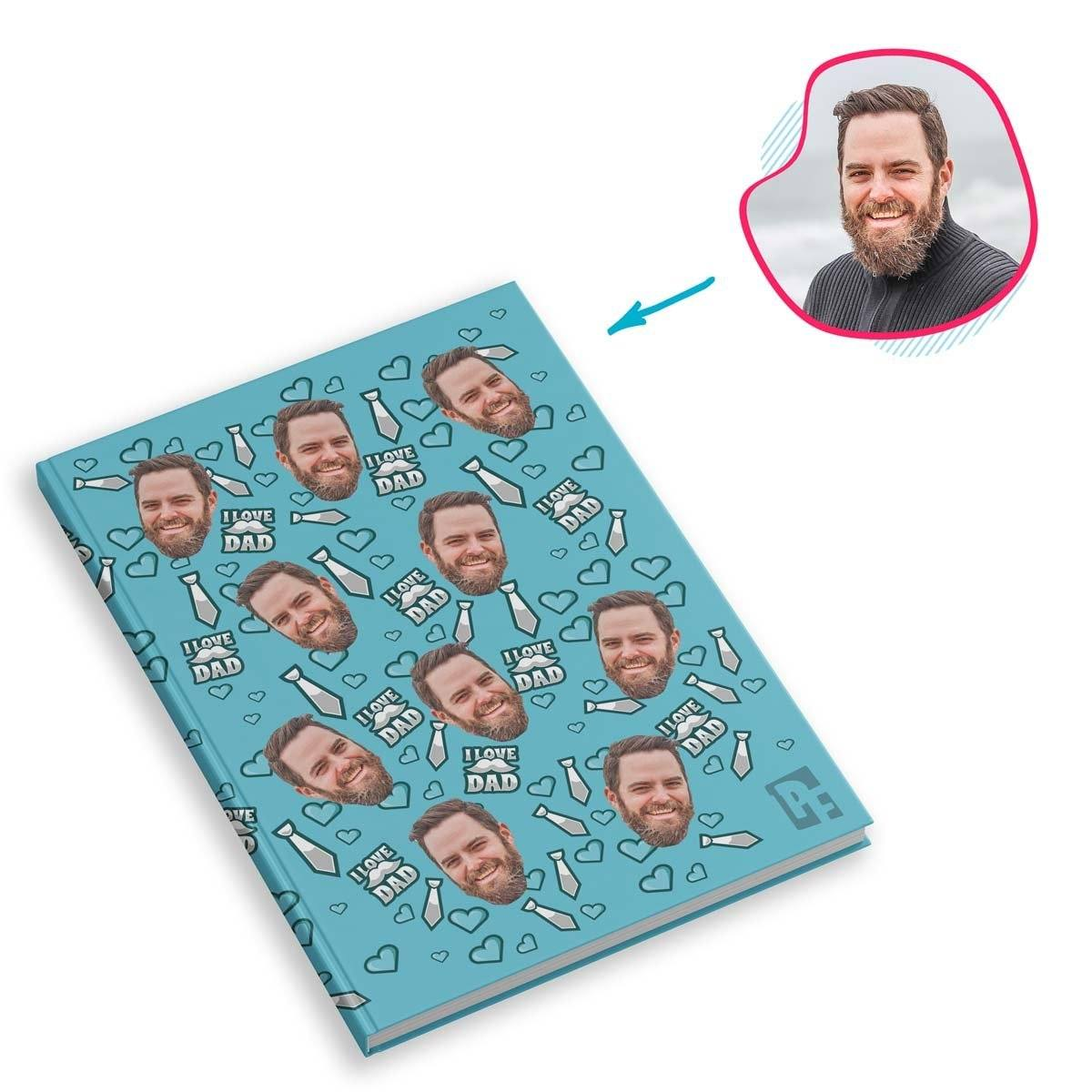 blue Love Dad Notebook personalized with photo of face printed on them