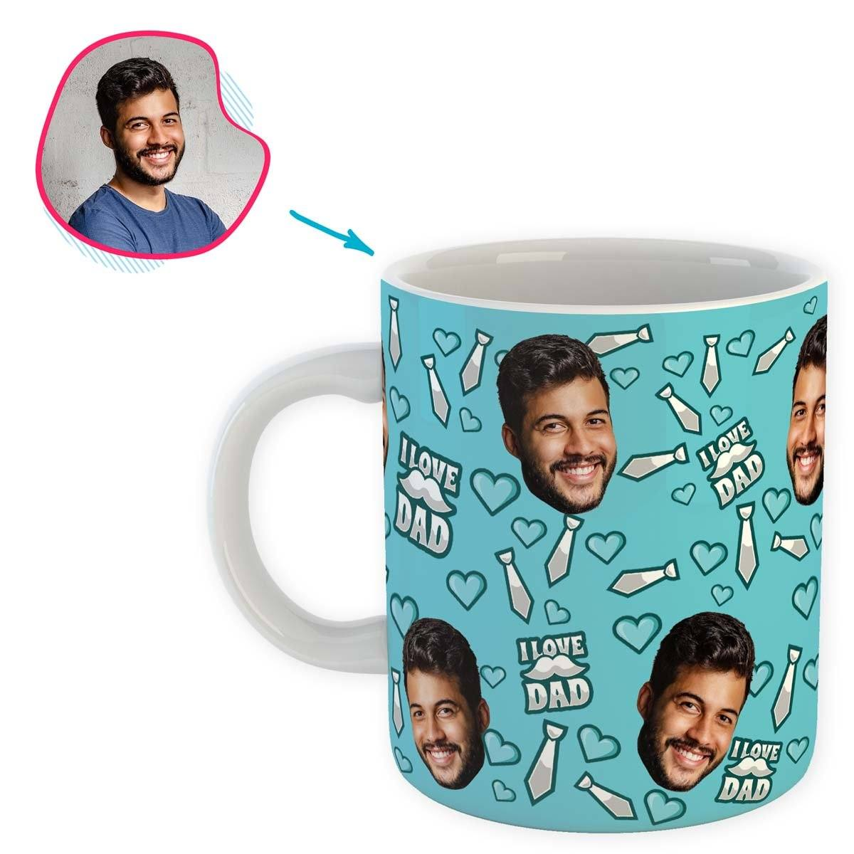 blue Love Dad mug personalized with photo of face printed on it