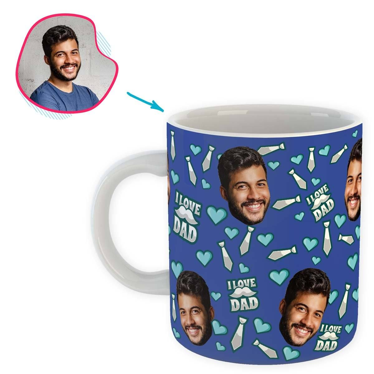 darkblue Love Dad mug personalized with photo of face printed on it