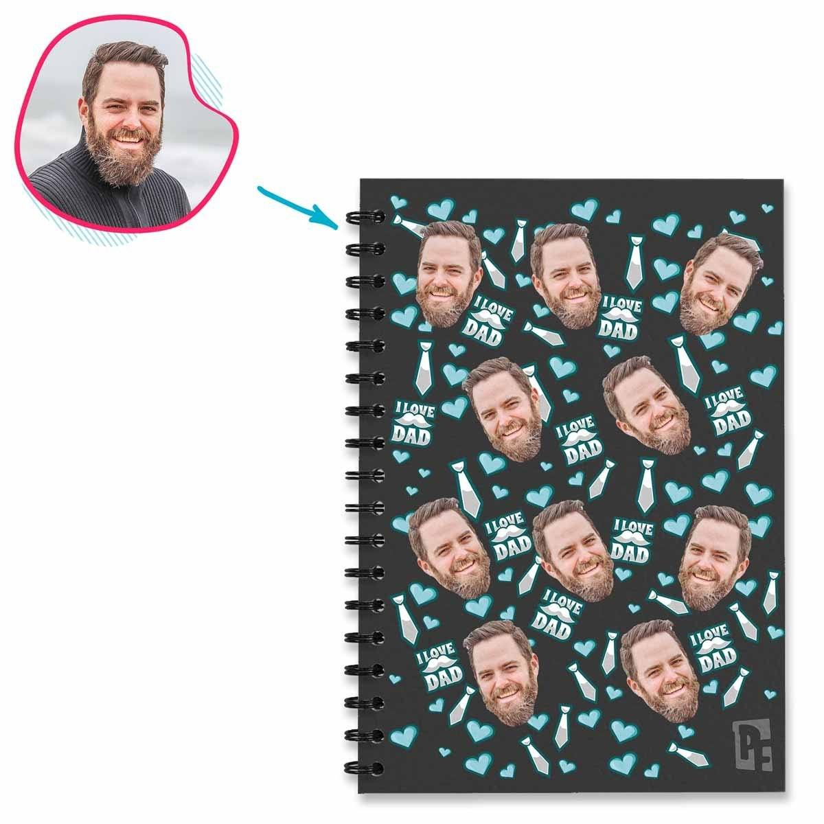 dark Love Dad Notebook personalized with photo of face printed on them
