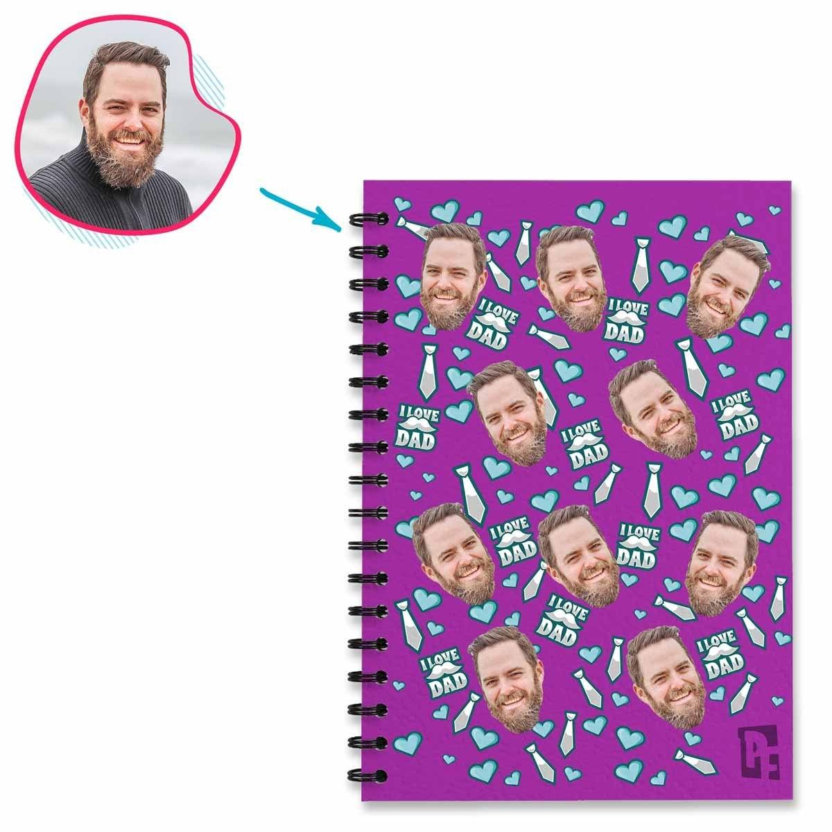 purple Love Dad Notebook personalized with photo of face printed on them