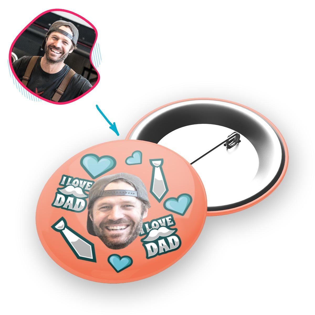 salmon Love Dad pin personalized with photo of face printed on it