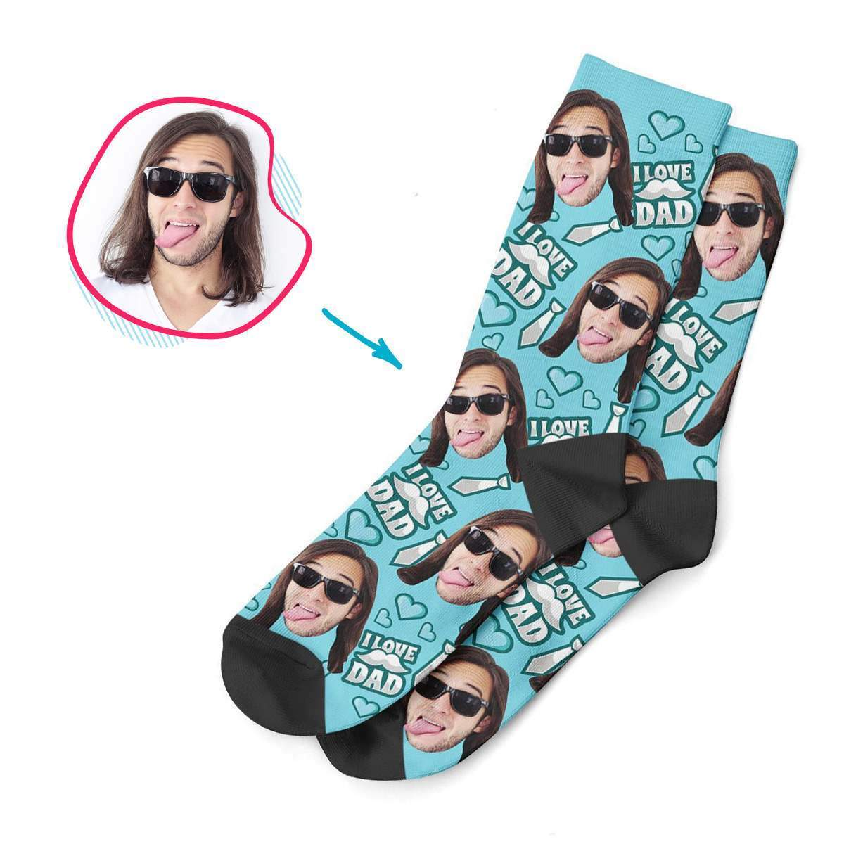 blue Love Dad socks personalized with photo of face printed on them