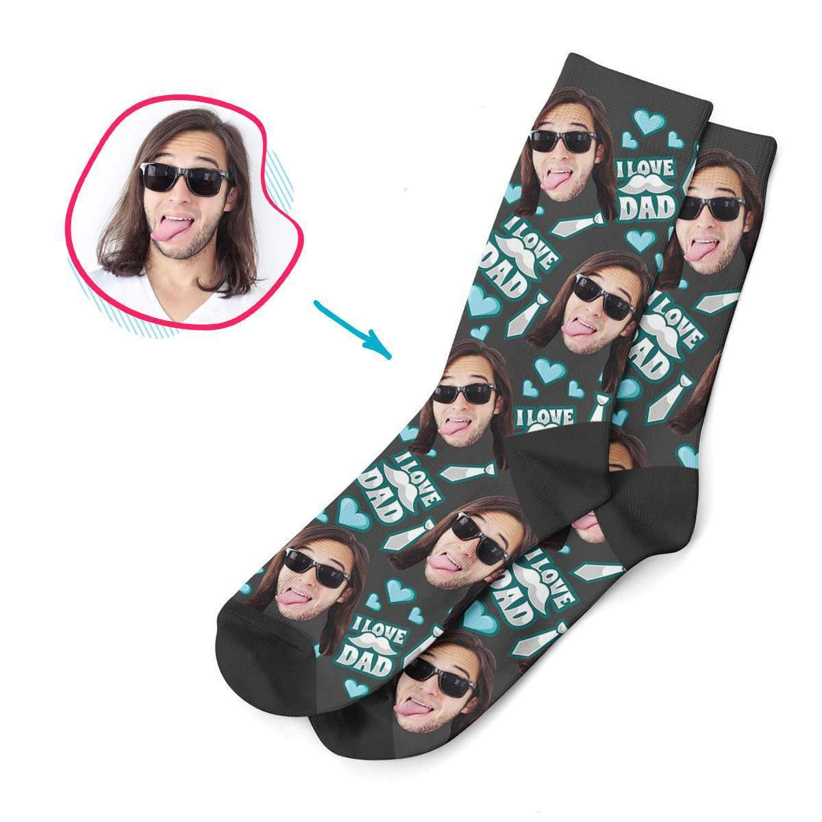 dark Love Dad socks personalized with photo of face printed on them