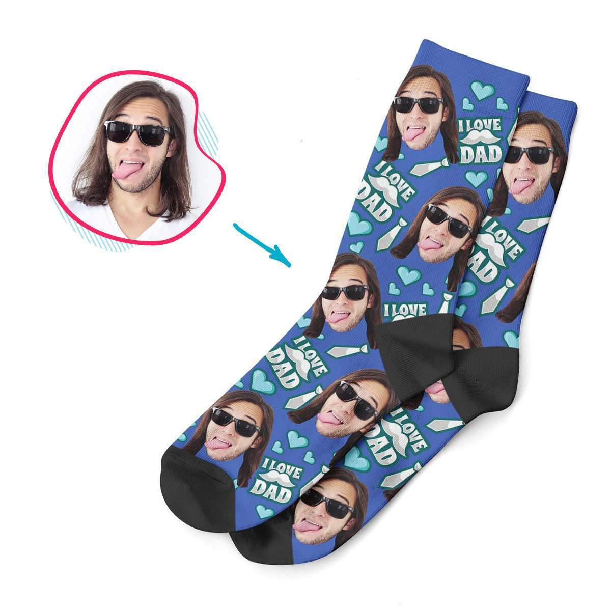 darkblue Love Dad socks personalized with photo of face printed on them