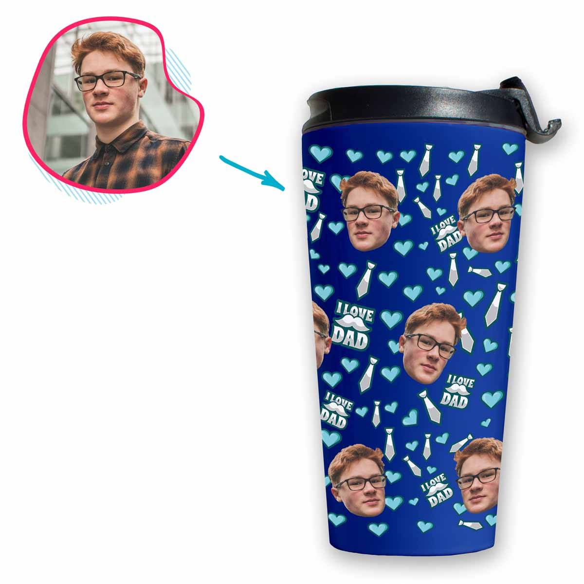 darkblue Love Dad travel mug personalized with photo of face printed on it