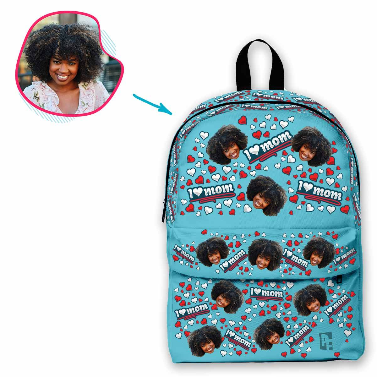 blue Love Mom classic backpack personalized with photo of face printed on it