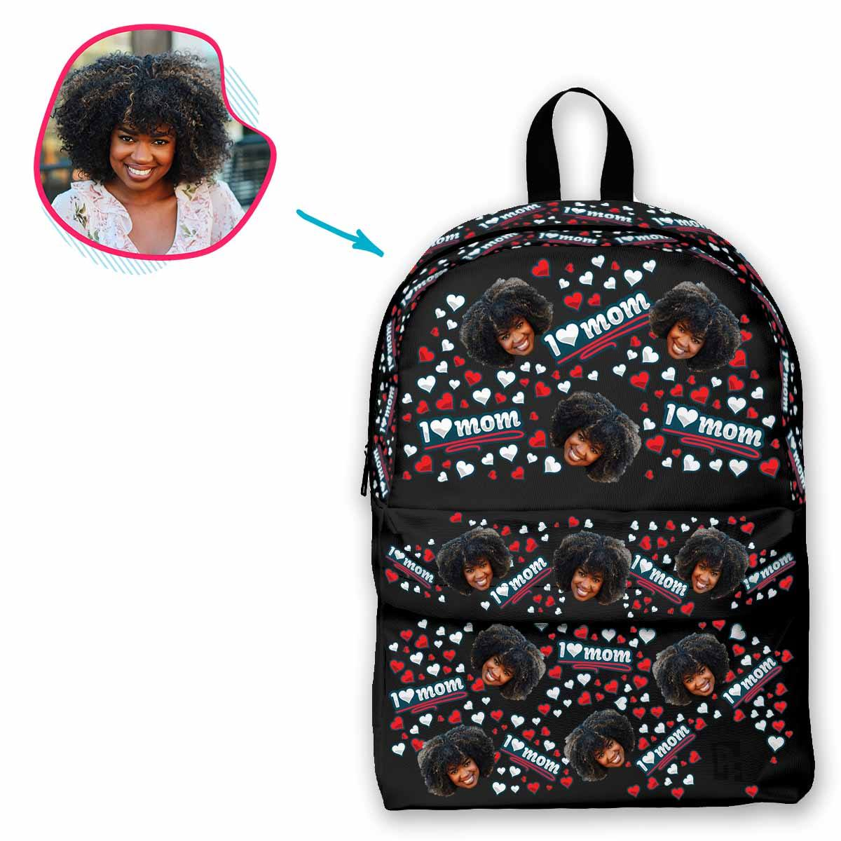 dark Love Mom classic backpack personalized with photo of face printed on it
