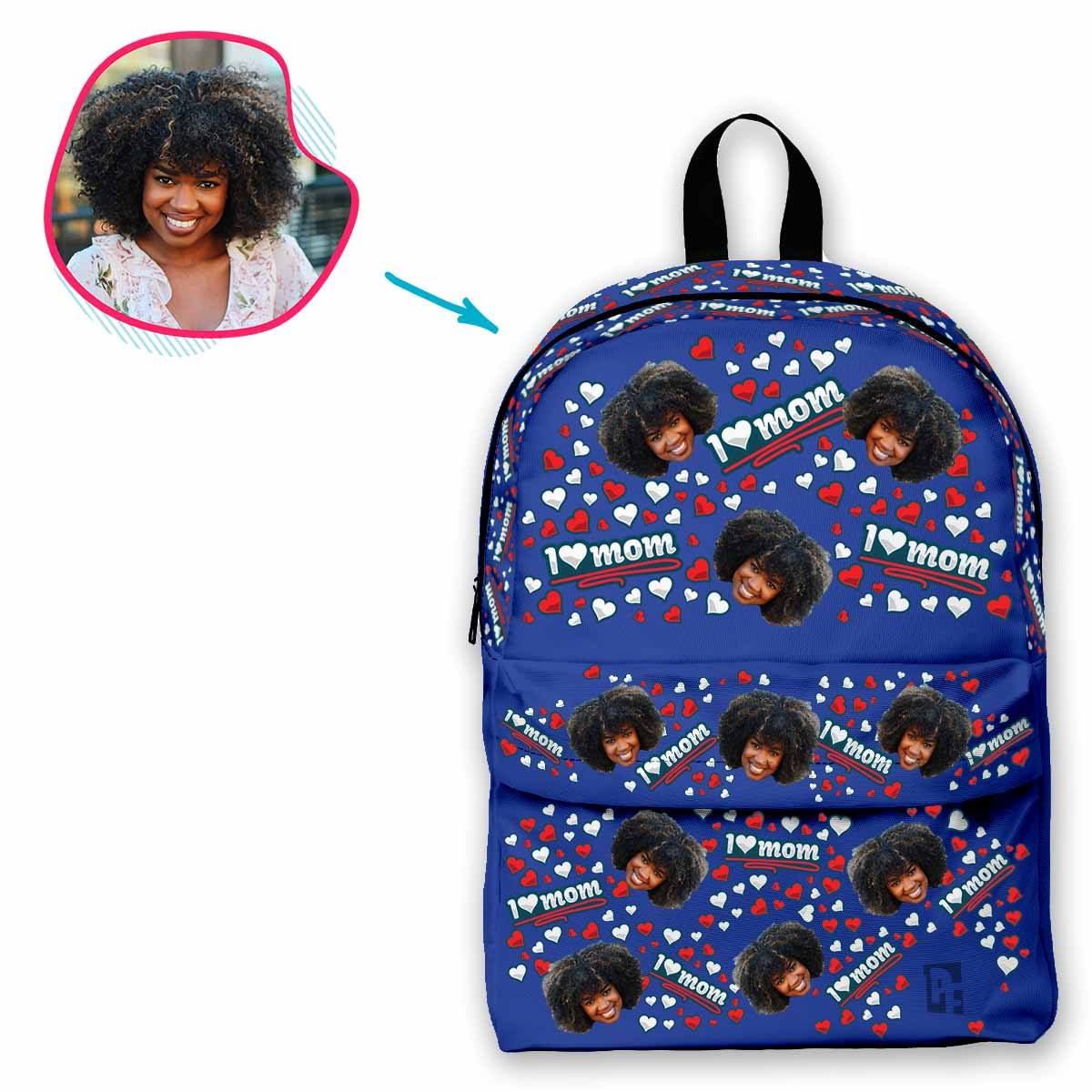 darkblue Love Mom classic backpack personalized with photo of face printed on it